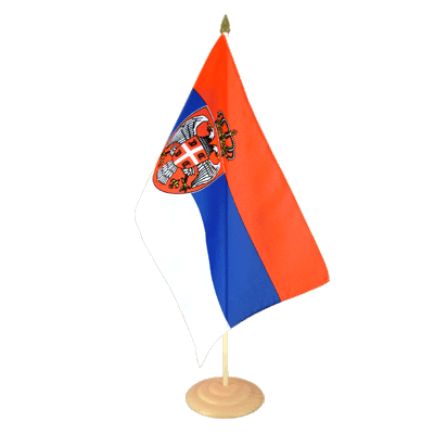 "Large Table Flag Serbia with crest - 12x18"", wooden"
