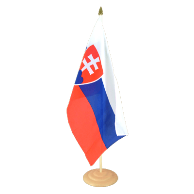 "Large Desk and Table Flag Slovakia - 12x18"", wooden"
