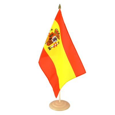Large Spain with crest Table Flag, wooden - 12x18""