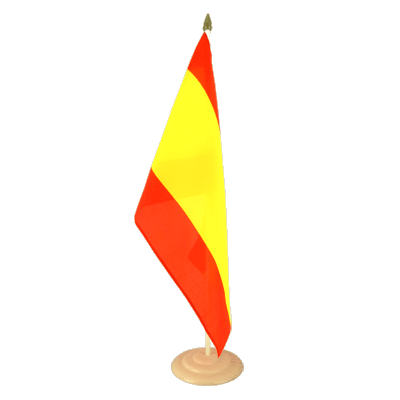 "Large Desk and Table Flag Spain without crest - 12x18"", wooden"