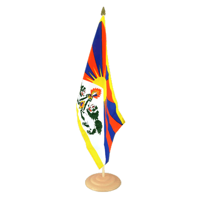 Grand drapeau de table Tibet en bois 30x45 cm