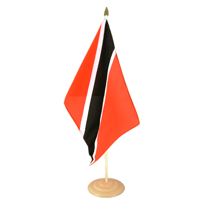 "Large Table Flag Trinidad and Tobago - 12x18"", wooden"