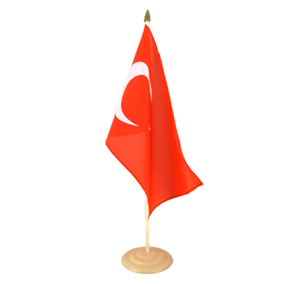 "Large Table Flag Turkey - 12x18"", wooden"