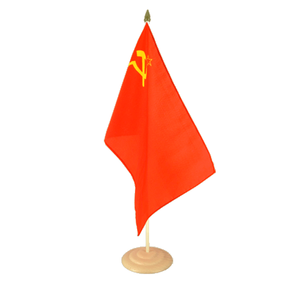 "Large Table Flag USSR Soviet Union - 12x18"", wooden"