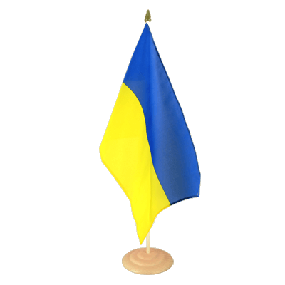 Grand drapeau de table Ukraine en bois 30x45 cm