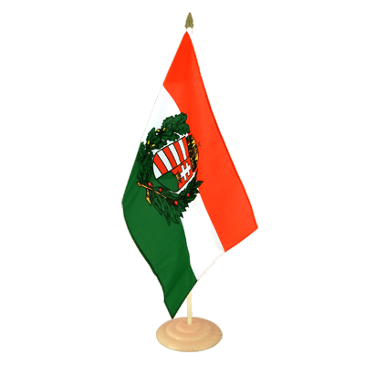 Large Hungary with crest Table Flag, wooden - 12x18""