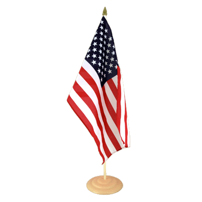 Grand drapeau de table USA en bois 30x45 cm