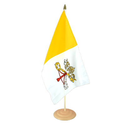 "Large Table Flag Vatican - 12x18"", wooden"