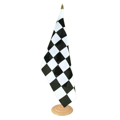 "Large Table Flag Checkered - 12x18"", wooden"