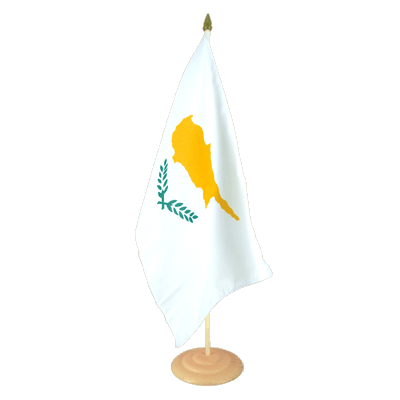 "Large Table Flag Cyprus - 12x18"", wooden"