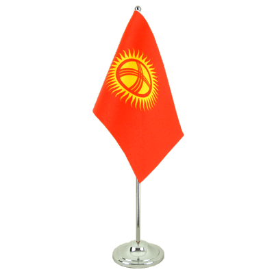 Satin Desk and Table Flag Kyrgyzstan - 6x9""