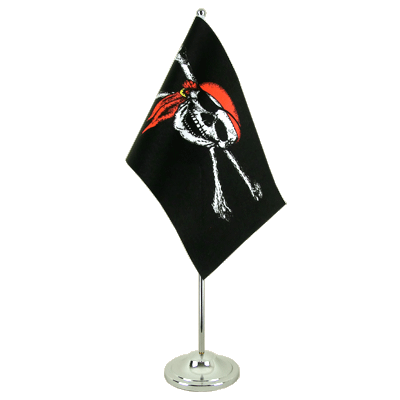 Drapeau de table prestige Pirate avec foulard 15x22 cm