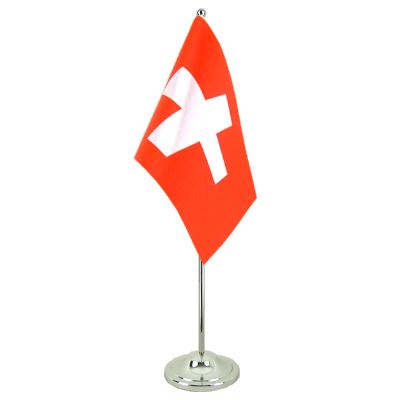 Satin Desk and Table Flag Switzerland - 6x9""