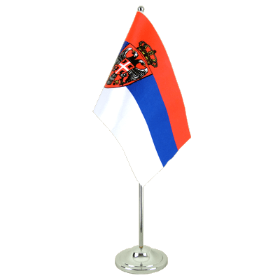 Serbia with crest Satin Table Flag 6x9""