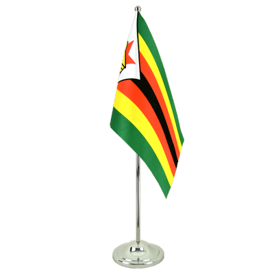 Zimbabwe Satin Table Flag 6x9""