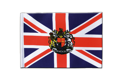 Satin Flag Great Britain with crest - 6x9""