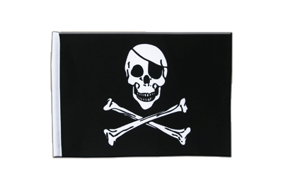 Satin Flag Pirate Skull and Bones - 6x9""