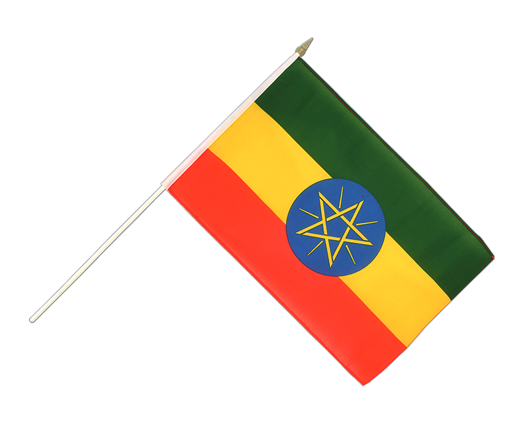"Hand Waving Flag Ethiopia with star - 12x18"" (30 x 45 cm)"