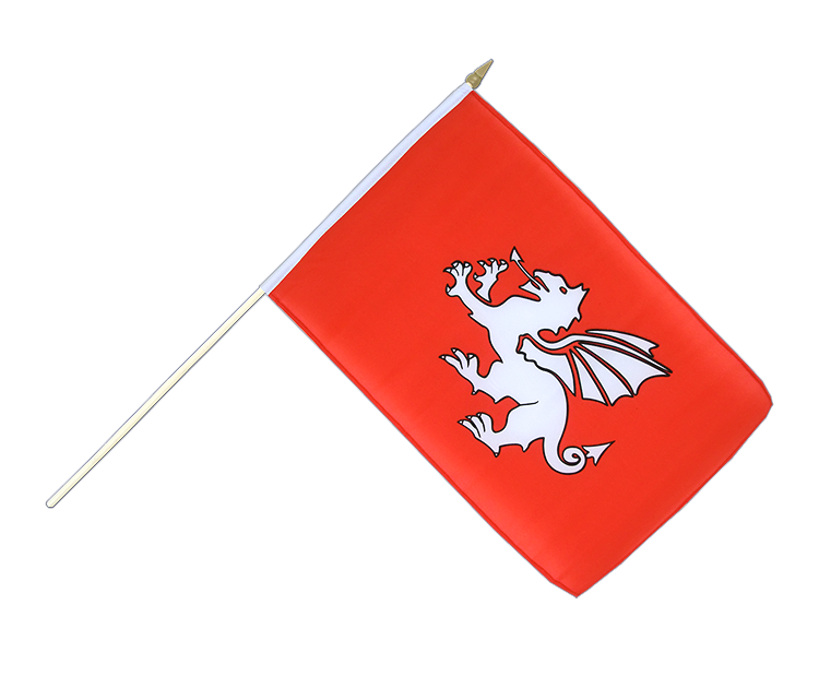 England Pendragon Weißer Drachen - Stockflagge 30 x 45 cm