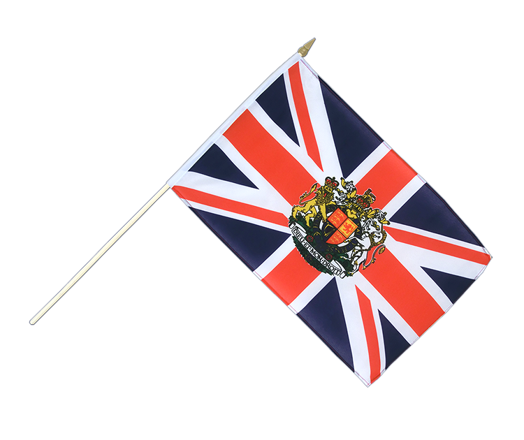 "Hand Waving Flag Great Britain with crest - 12x18"" (30 x 45 cm)"
