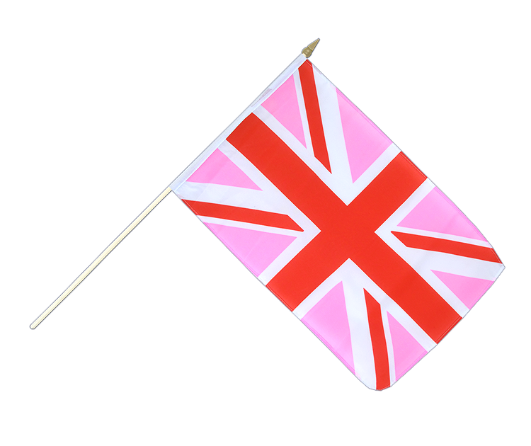 Stockflagge/Stockfahne Union Jack Pink - 30 x 45 cm