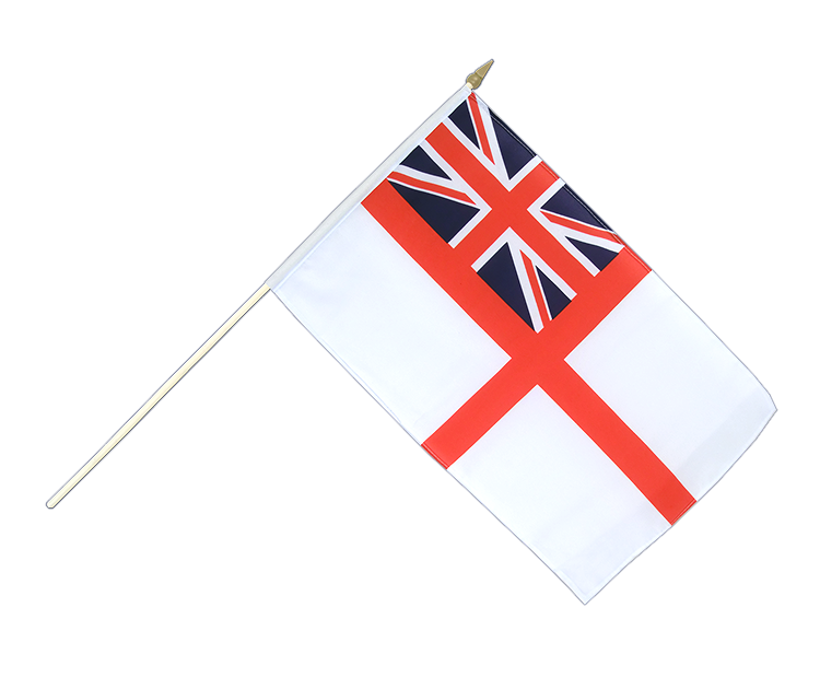Drapeau sur hampe Royaume-Uni Naval Ensign of the White Squadron à agiter 30x45cm