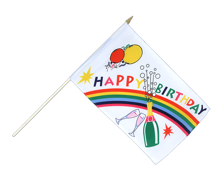 Drapeau sur hampe Happy Birthday à agiter 30x45cm