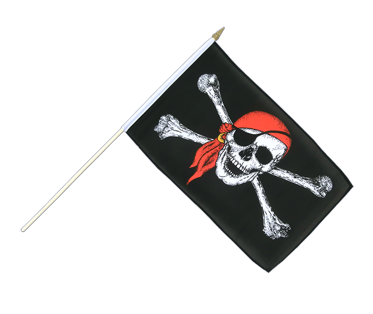 "Pirate with bandana Hand Waving Flag - 12x18"" (30 x 45 cm)"