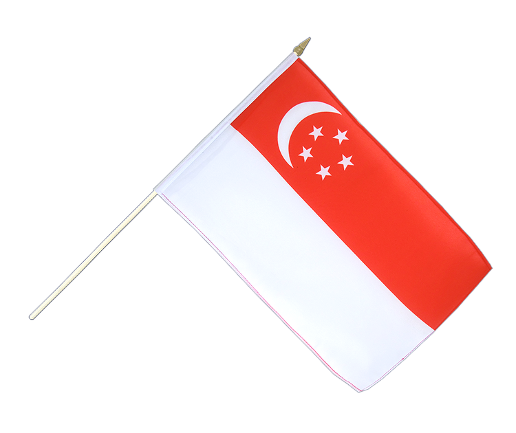 "Hand Waving Flag Singapore - 12x18"" (30 x 45 cm)"