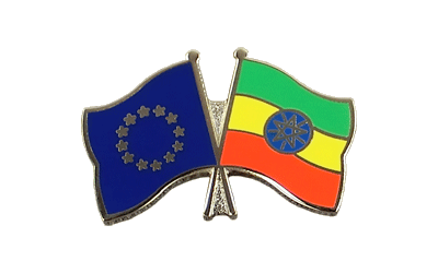 EU + Ethiopia with star - Crossed Flag Pin