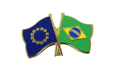 EU + Brazil - Crossed Flag Pin