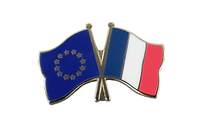 EU + France - Crossed Flag Pin