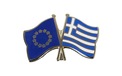 EU + Greece - Crossed Flag Pin