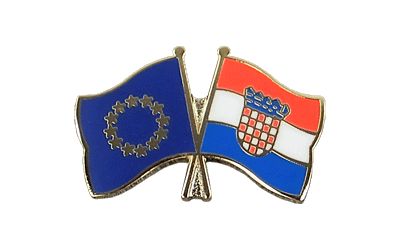 EU + Croatia - Crossed Flag Pin