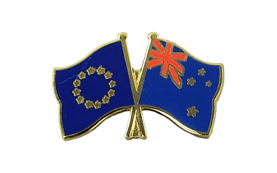 EU + New Zealand - Crossed Flag Pin