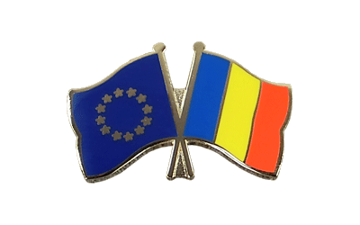 EU + Rumania - Crossed Flag Pin