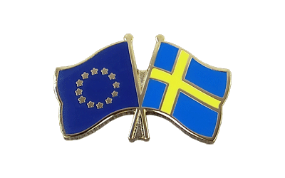 EU + Sweden - Crossed Flag Pin