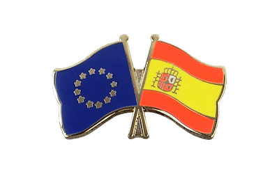 EU + Spain with crest - Crossed Flag Pin