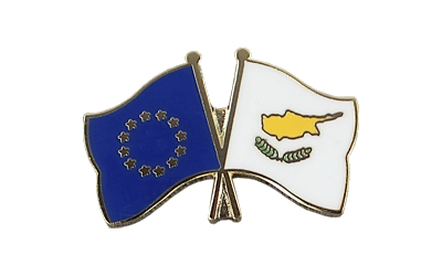 EU + Cyprus - Crossed Flag Pin