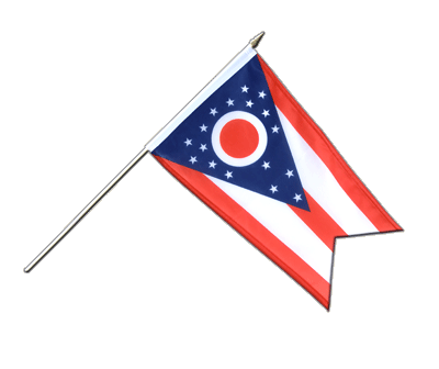 "Hand Waving Flag Ohio - 12x18"" (30 x 45 cm)"