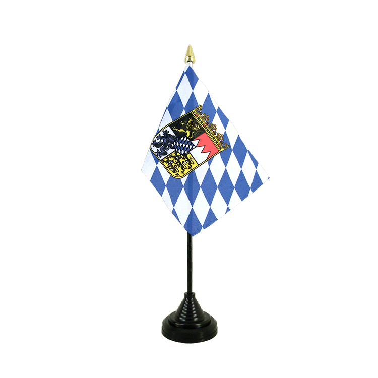 "Table Flag Bavaria with crest - 4x6"" (10 x 15 cm)"