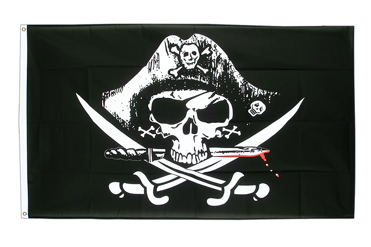 Cheap Flag Pirate with bloody sabre - 2x3 ft