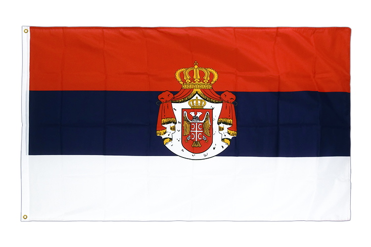 Premium Flag Serbia with crest - 3x5 ft CV