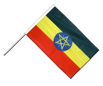 Hand Waving Flag PRO Ethiopia with star - 2x3 ft (60 x 90 cm)
