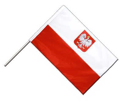 Hand Waving Flag PRO Poland with eagle - 2x3 ft (60 x 90 cm)