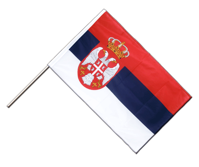 Hand Waving Flag PRO Serbia with crest - 2x3 ft (60 x 90 cm)