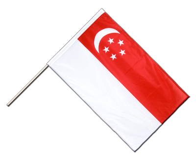 Singapore Hand Waving Flag PRO - 2x3 ft (60 x 90 cm)