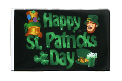 Pavillon Happy St. Patrick's Day Fête de la Saint-Patrick Noir Fourreau ECO 60x90 cm