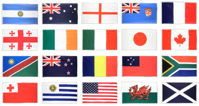 Rugby WM 2015, 20 Nationen - Flaggen-Set 90 x 150 cm