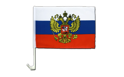 Car Flag Russia with crest - 12x16""